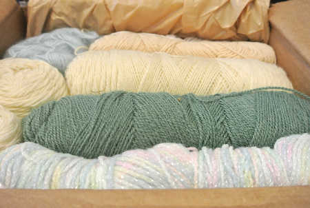 box of yarn Garage Sale Yarn Haul