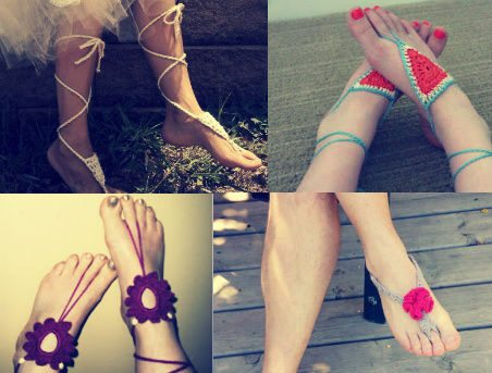 crochet barefoot sandals1 Crochet Blog Roundup: August in Review