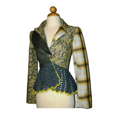 crochet embellished fabric jacket 400x400 Etsy Crochet Designer Annie Briggs