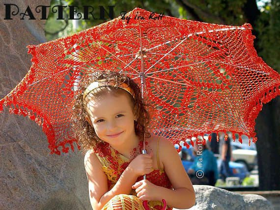 crochet red umbrella 15 Crochet Umbrellas for your Creative Rainy Days