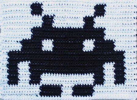 crochet space invader Emerging Crochet Artist Issa Abou Issa
