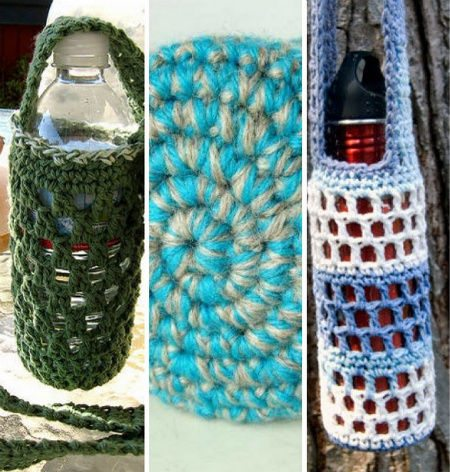 crochet water bottle cozies Crochet Blog Roundup: August in Review