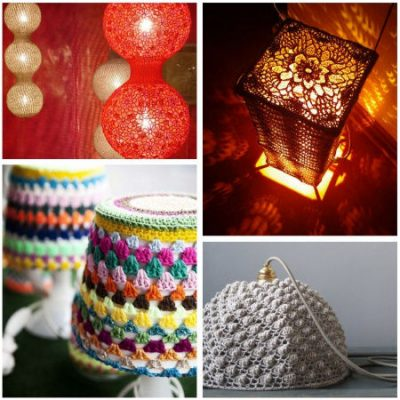 crocheted lamps 400x400 10 Examples of Crochet Items for the Home, a Pinterest Selection