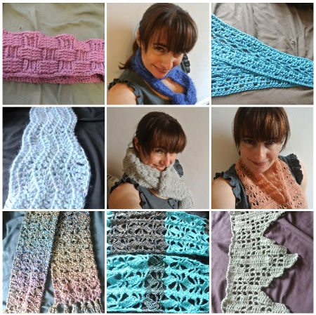 nine crochet scarves