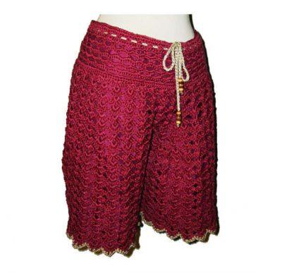 red crochet shorts 400x387 Etsy Crochet Designer Annie Briggs