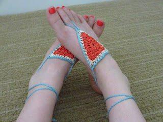 thread crochet barefoot sandals