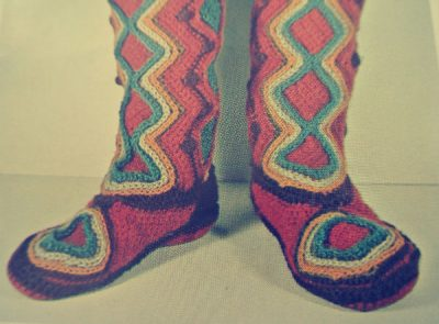 1970s crochet boots 400x295 Edgy 1970s Crocheters: Nicki Hitz Edson