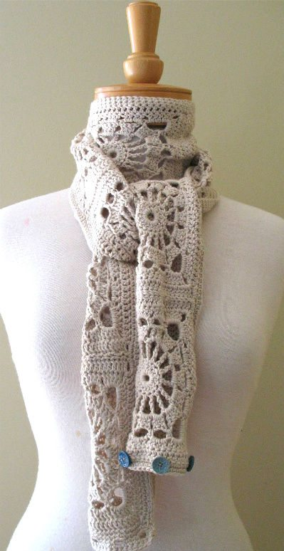 crochet button scarf1 Best Crochet Links of the Week (Link Love)