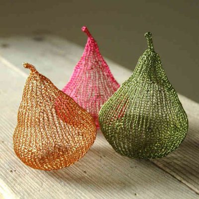 crochet pear sculpture 400x400 Etsys Wire Crochet Artist Yoola