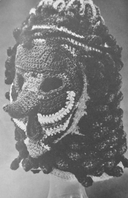 crocheted mask Edgy 1970s Crocheters: Nicki Hitz Edson