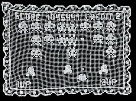 filet crochet space invaders Surprising Crochet Art from Industrial Designer Alessandro Zambelli
