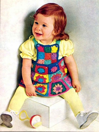 granny square kids dress 400x534 15 Beautiful Kids Crochet Dress Patterns to Buy Online