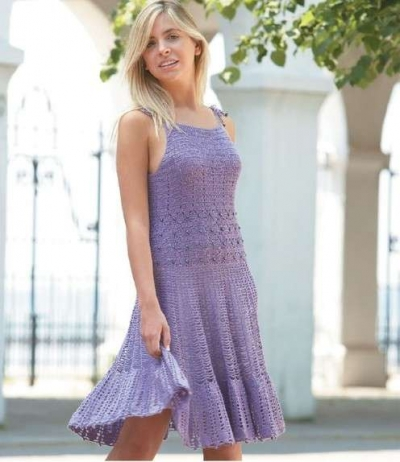 purple crochet dress 400x462 15 Beautiful Crochet Dress Patterns to Buy Online
