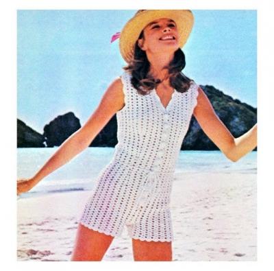 retro 1970s crochet romper