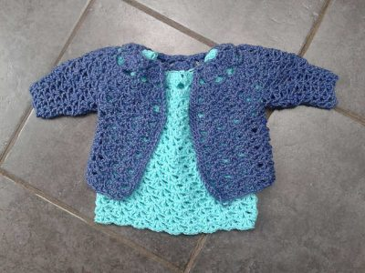 baby dress and cardigan 400x300 15 Beautiful Free Crochet Patterns for Girls Dresses