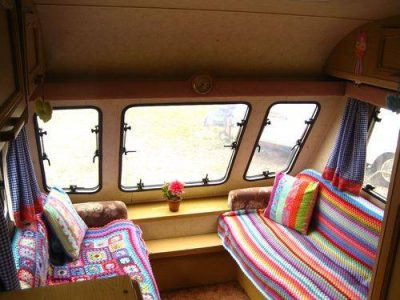 crochet caravan cushions 400x300 Five Crafters Homes I Would Love To Have a Crochet Retreat At