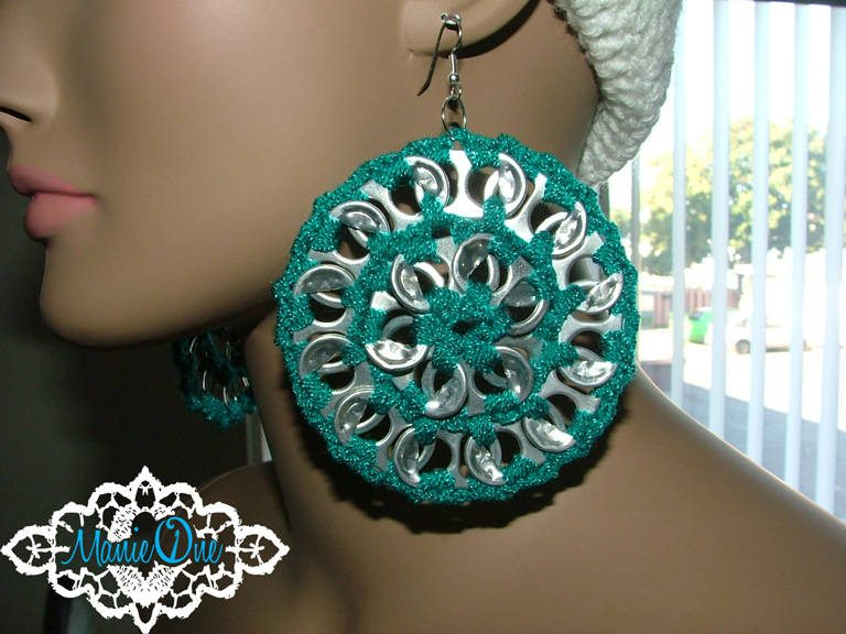Crocheting With Pop Tabs : crochet pop tab earrings
