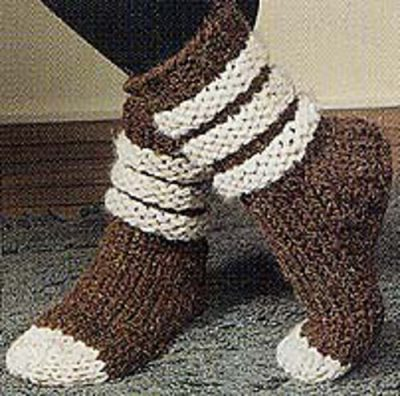 crochet socks free pattern 400x396 Small Projects, Large Hooks! 15 Quick Free Crochet Patterns for Holiday Gifts