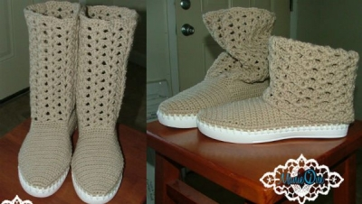 manie one crochet boots 400x226 Crochet Shoes and Accessories from Manie One