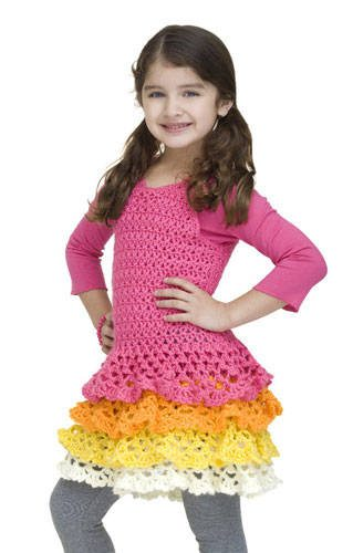 ruffled crochet kids dress pattern 15 Beautiful Free Crochet Patterns for Girls Dresses