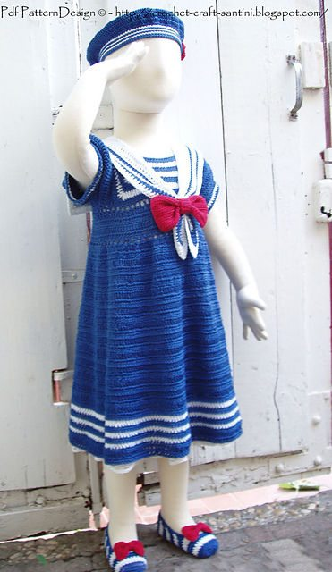 sailor girl crochet dress 15 Beautiful Kids Crochet Dress Patterns to Buy Online