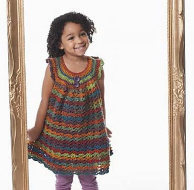 striped crochet girls dress 400x391 15 Beautiful Free Crochet Patterns for Girls Dresses