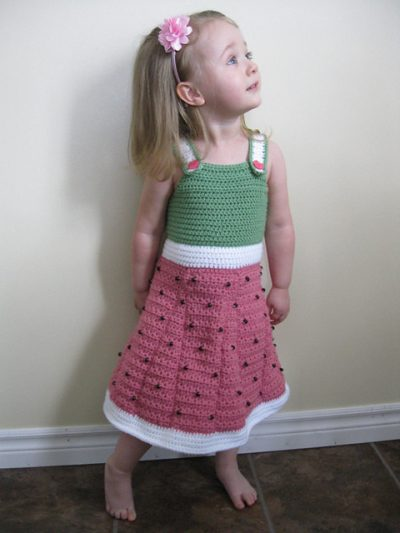 watermelon crochet dress 400x533 15 Beautiful Kids Crochet Dress Patterns to Buy Online