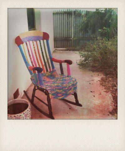 yarnbombing chair 400x484 Crochet Artist Donna Rutledge Okoro