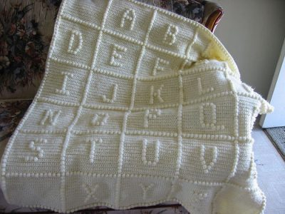 alphabet baby blanket 400x300 15 Most Popular Free Crochet Baby Blanket Patterns