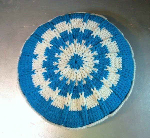 blue crochet pillow