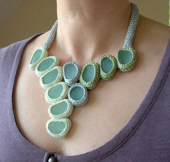 crochet bib necklace Unique Crochet Jewelry and More from Etsy Artist Asta