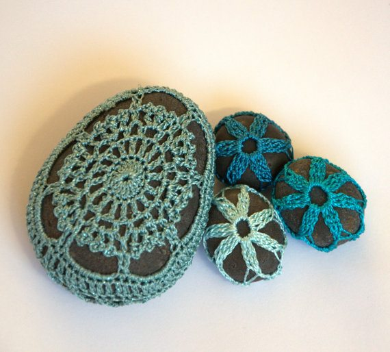 crochet covered stones Unique Crochet Jewelry and More from Etsy Artist Asta