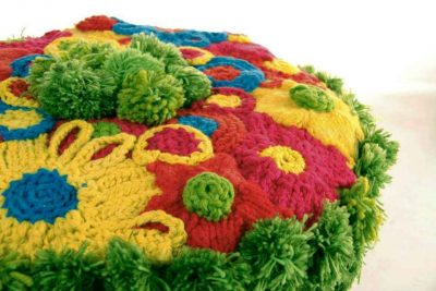 crochet covered stool 400x267 Upcycling Knit and Crochet Artist Samantha Claire Wilson