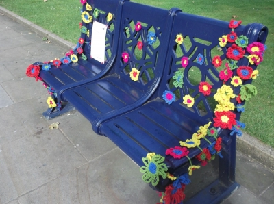 crochet flower yarnbomb 400x298 Upcycling Knit and Crochet Artist Samantha Claire Wilson