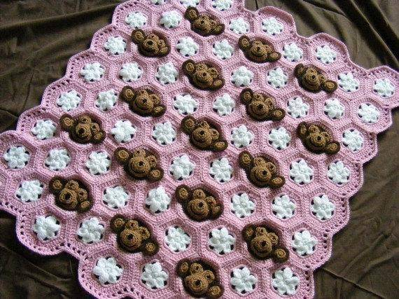 Crochet Monkey Baby Blanket pattern for sale in girl and boy versions