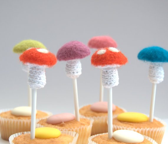 crochet mushroom cupcake toppers Unique Crochet Jewelry and More from Etsy Artist Asta
