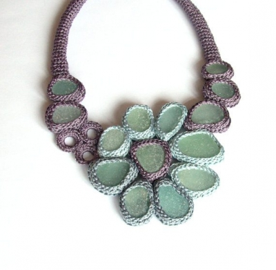 crochet sea glass necklace 400x391 2012 in Crochet: Crochet Art and Artists