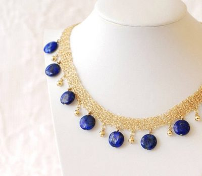 lapis crochet necklace 400x348 Crochet Jewelry Ideas for Christmas Including 10 Free Crochet Patterns
