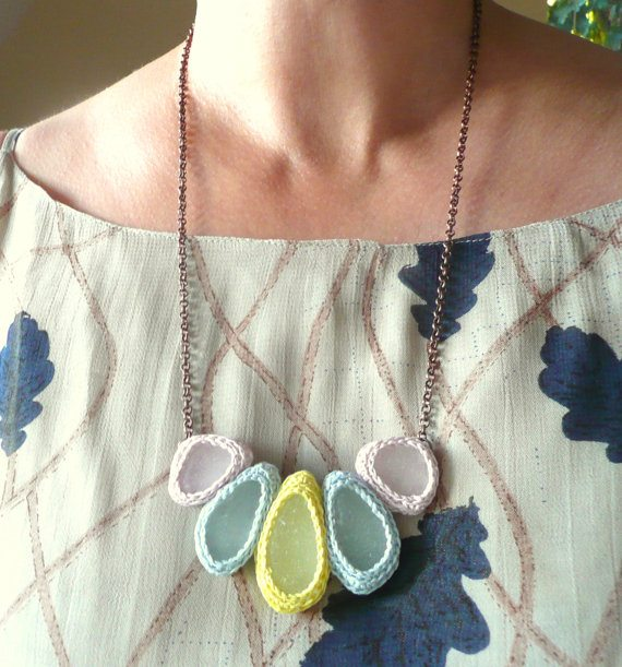 pastel crochet seaglass necklace Unique Crochet Jewelry and More from Etsy Artist Asta