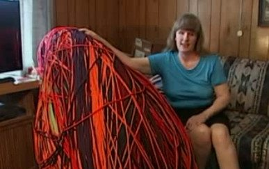 patricia belcher crochet Blind Woman Crochets 40 Mile Yarn Chain in World Record Attempt