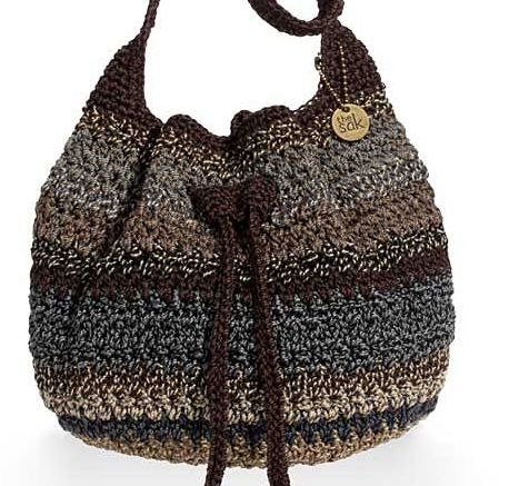 sak crochet drawstring bag