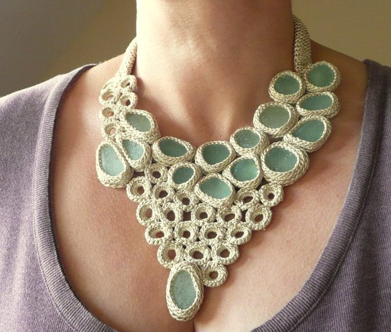 sea glass crochet necklace