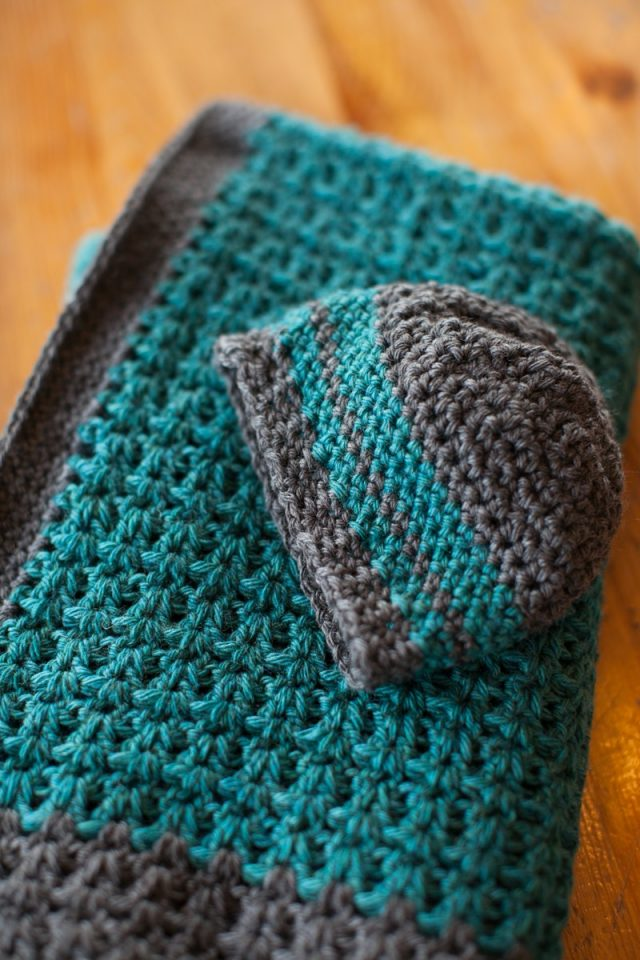 vstitch crochet hat and blanket free pattern