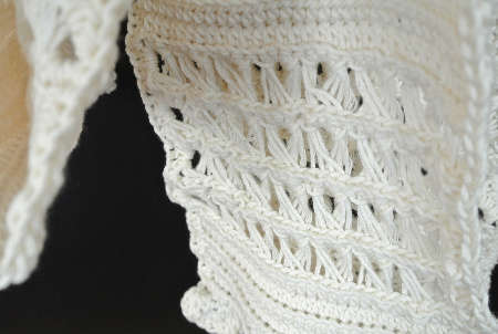 cotton crochet broomstick scarf