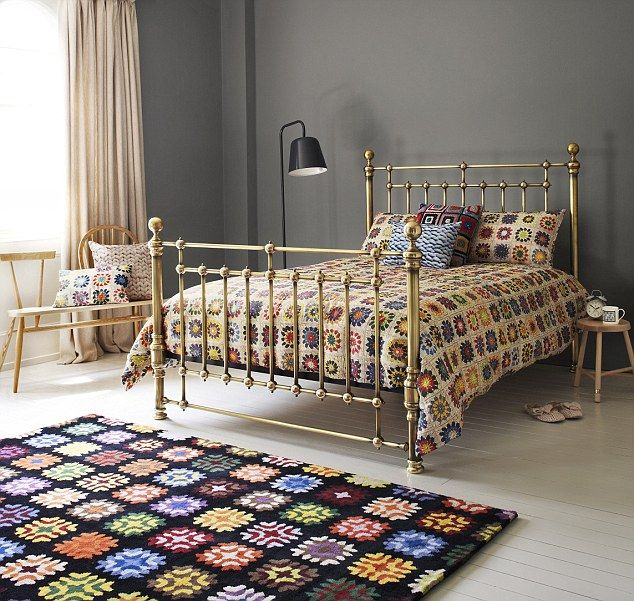 granny square bed linen and rug