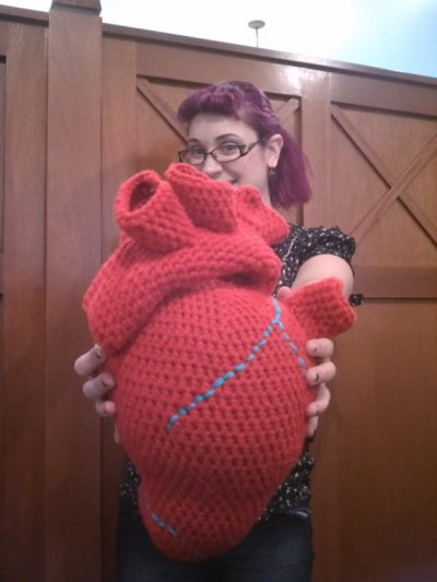 crochet heart pillow 400x533 Actress and Crochet Artist Sarah Louisa Burns