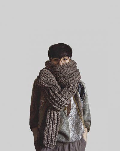 crochet oversized scarf 400x502 Total Process Crochet Artist Yokoo Gibran