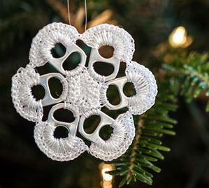 crochet pop tab christmas ornament