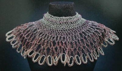 crochet wire collar 400x234 Crocheted Wire Jewelry of New York Artist Arline Fisch