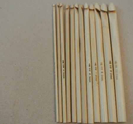 light bamboo crochet hooks